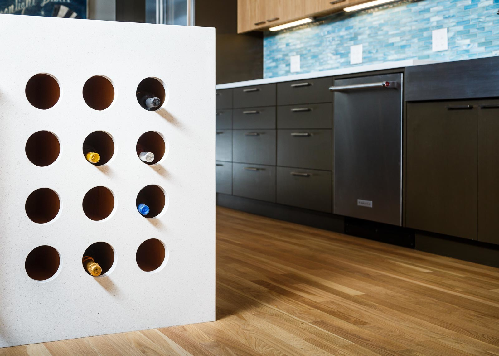Custom Kitchen with Waterfall Winerack