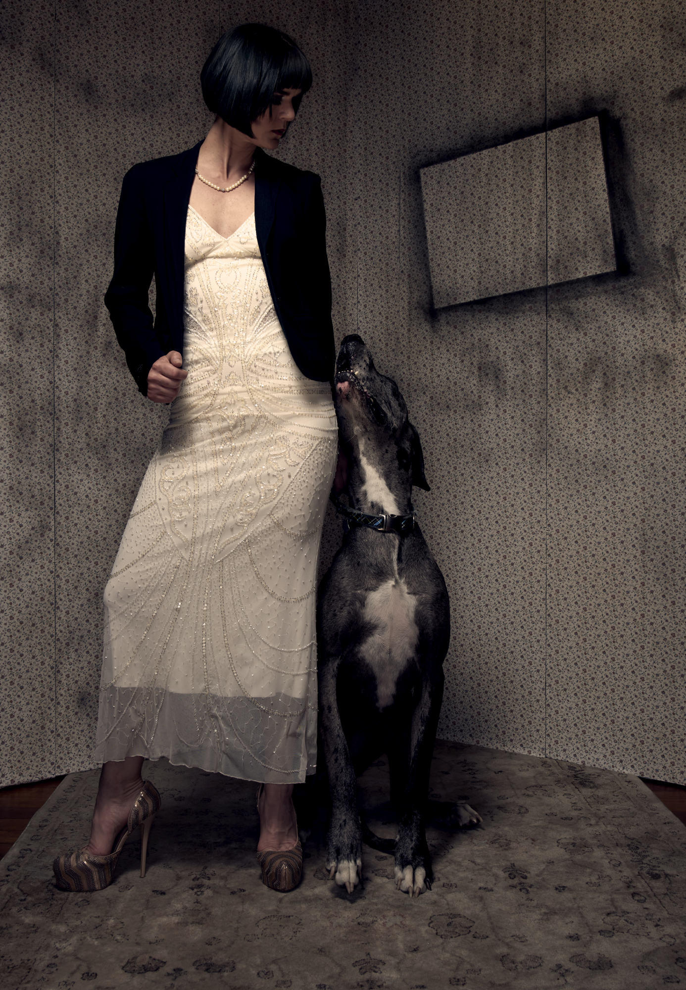 Fashion Photography - Vintage Dress with Great Dane - Grungy Editorial Portraits
