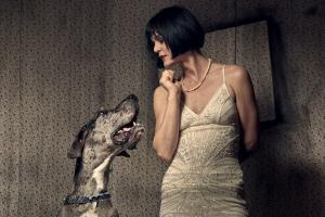 Fashion Photography - Vintage Dress with Great Dane - Grungy Mood