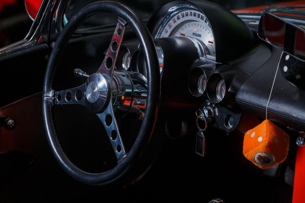 1962 Chevy Corvette C1 Steering Wheel and Gauge Cluster Detail