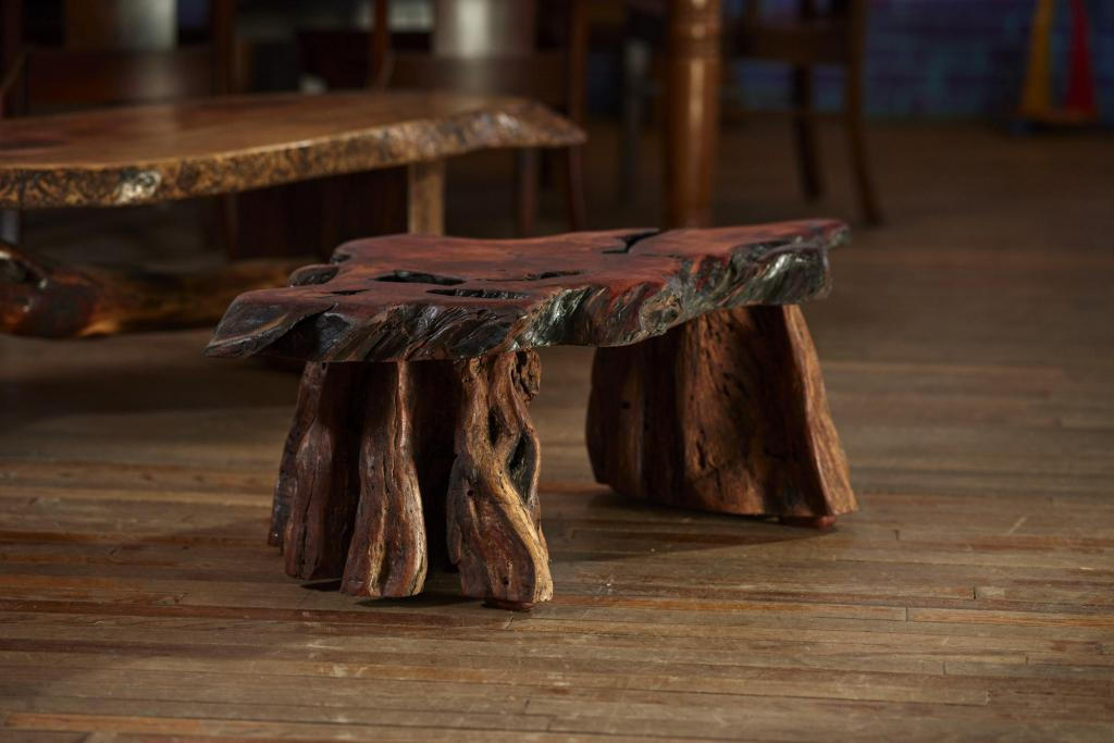 Rustic Furniture Photography of a rustic mesquite stool.