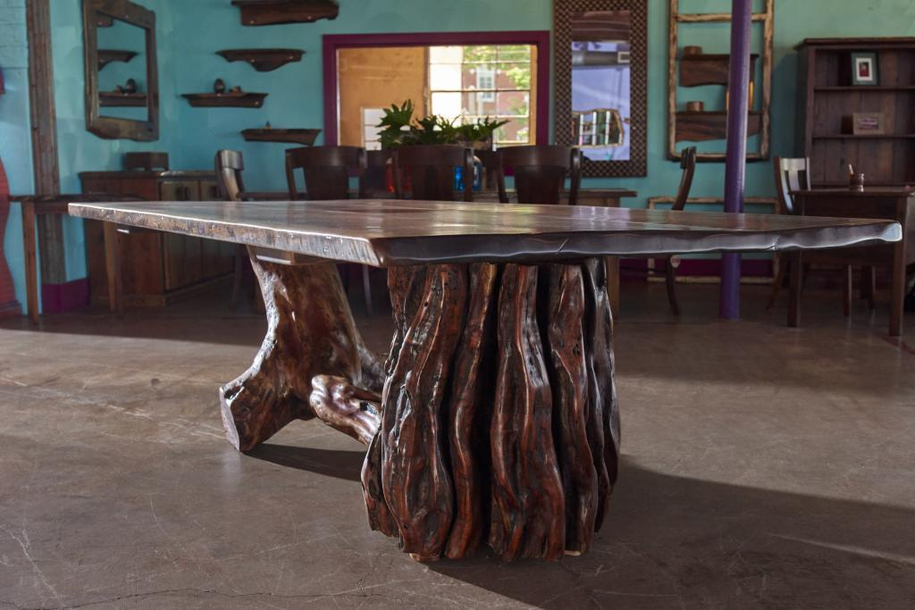 Rustic Furniture Product Photography of hand made table created from a large mesquite stump.
