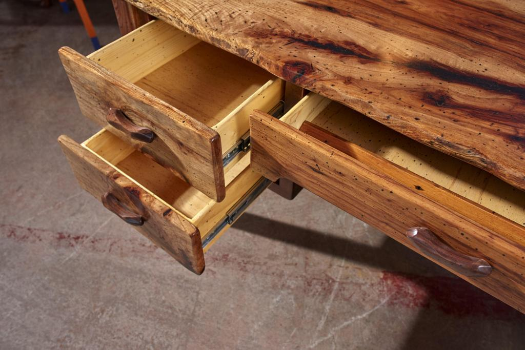 Rustic Furniture Photography of a hand made desk celebrating the wood.