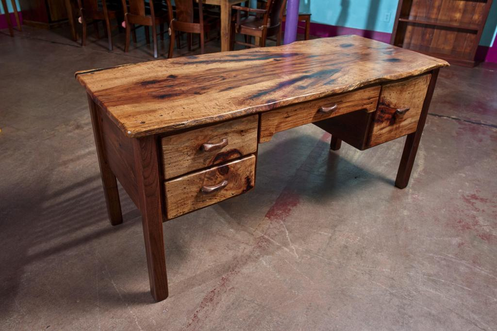 Rustic Furniture Product Photography of a hand made desk celebrating the wood.