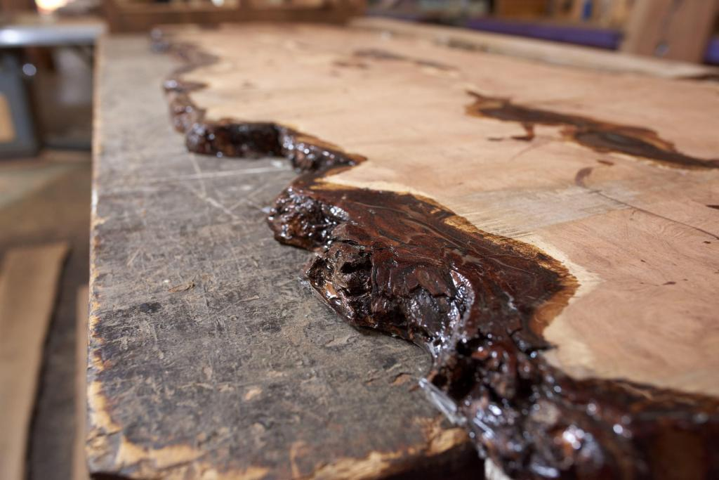 Rustic Furniture Product Photography of incomplete live edge bar top.