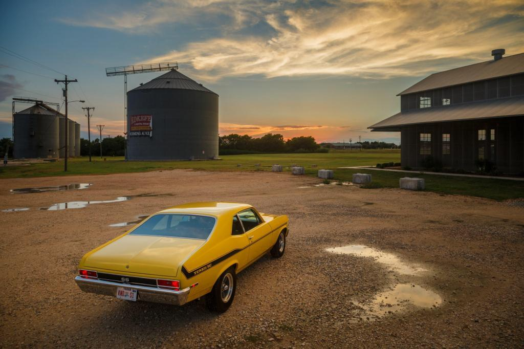 Historic Car, 1970 Yenko Nova with a 427 Big Block at the old silos in downtown Hutto Tx