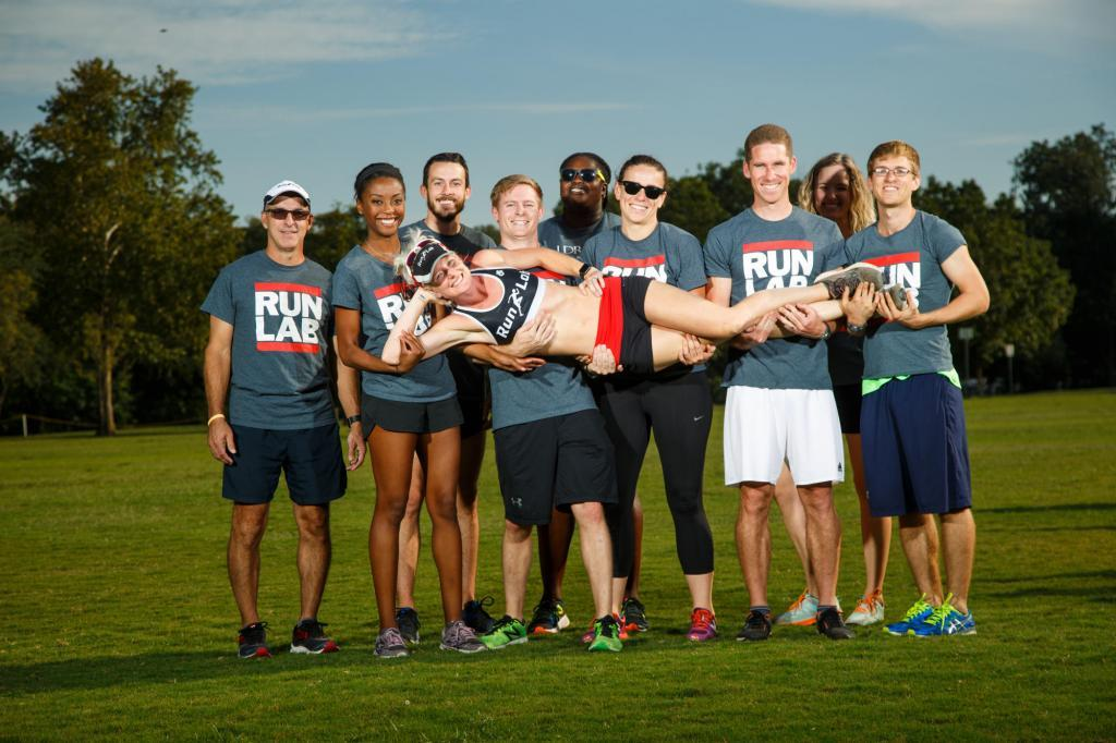 A Group Photo of Run Lab's Staff working the Zilker Relay Race