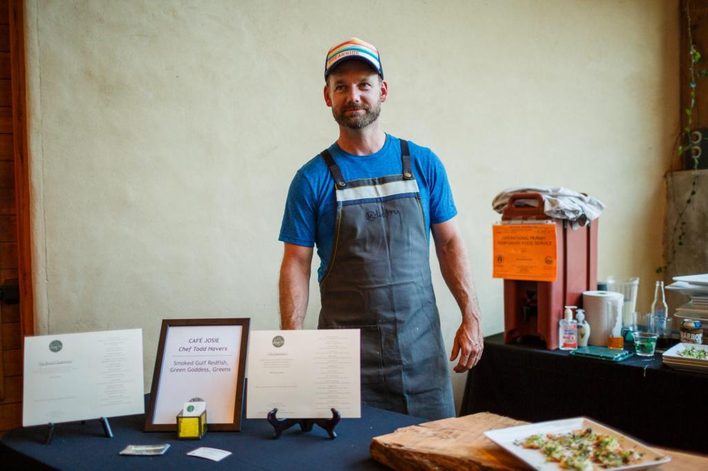 Chef Todd Havers of Cafe Josie serving his smoked gulf redfish, green goddess and greens. Austin Farm to Table Gala 2018 - Barr Mansion - Event Photography