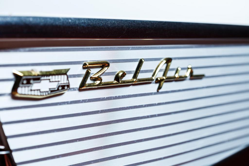 Classic 1956 Chevy Bel Air side fin badge detail detail - Josh Baker - Central Texas Automotive Photography