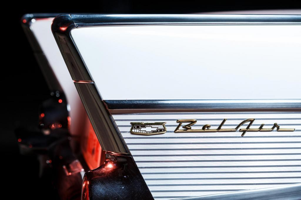 Rear fins on a 1956 Chevy Bel Air with jet engine style tail lights - central Texas automotive photography