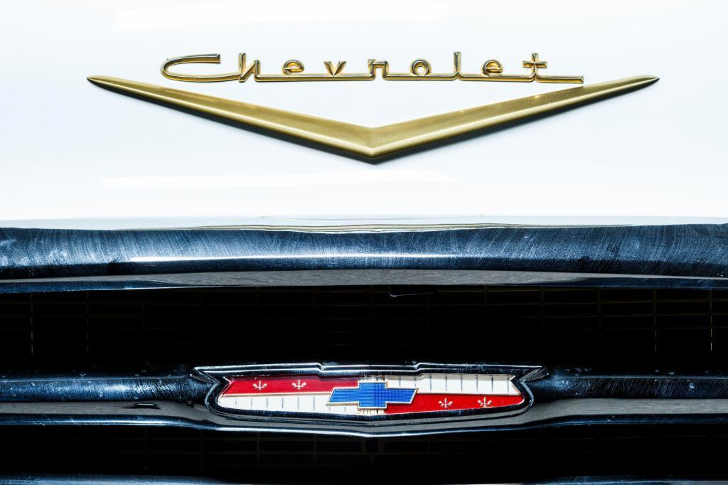 Classic 1956 Chevy Bel Air front grill and Chevrolet badge detail - Josh Baker - Central Texas Automotive Photography