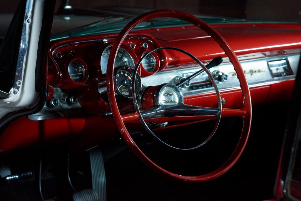 Classic 1956 Chevy Bel Air Red and Chrome Interior Josh Baker - Central Texas Automotive Photograph