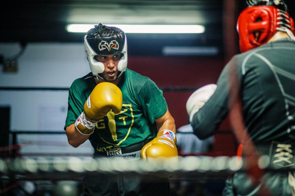 Got That Sports Where - Commercial Apparel Photography - Boxing in Houston - Fighters spring in the ring.