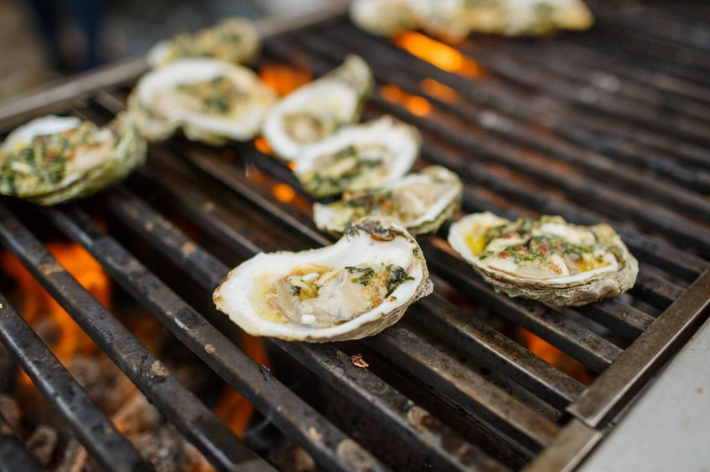 Oysters cooking over open flames - austin event photography