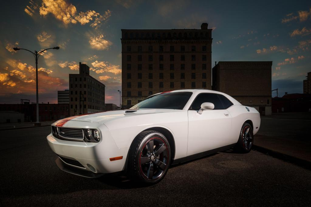 Dodge Challenger in front of a central Texas sunset in Temple Texas - Automotive Photography