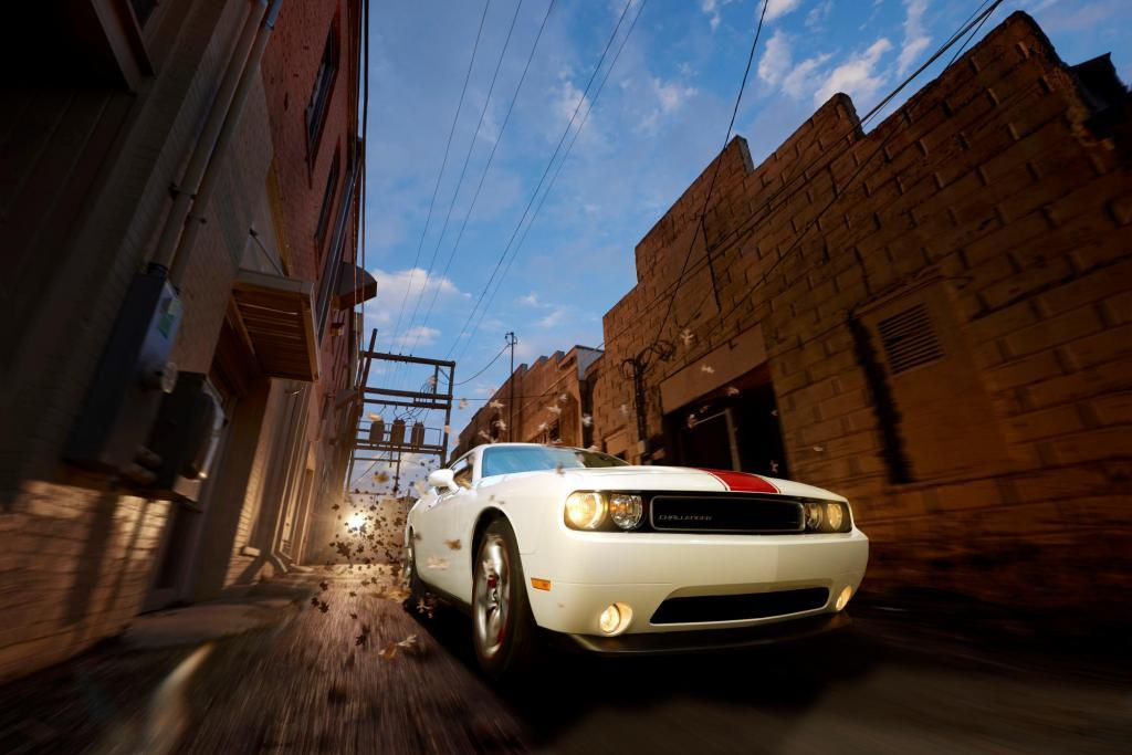 Dodge Challenger screaming through an ally - Virtual Rig Automotive Photorgaphy - Home town hero - Temple Texas automotive photography