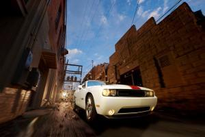 Dodge Challenger screaming through an ally - Virtual Rig - Home town hero - Temple Texas automotive photography
