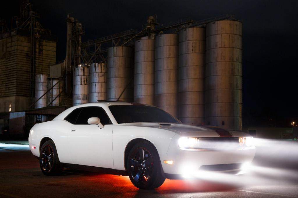 Automotive Photography of a Dodge Challenger in front of the grain silos in downtown Temple, Texas.