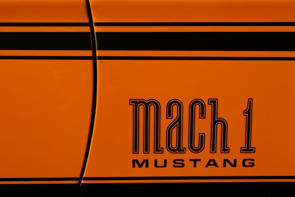 Front fender decal detail photo from a 1977 Mach 1 Ford Mustang - Troy, Texas automotive photography.