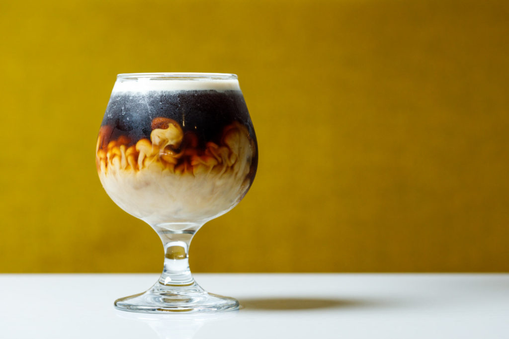 West Pecan Coffee + Beer - Cold brew coffee with a heavy shot of cream - Food Photos for an online menu.