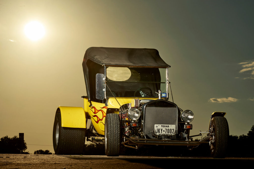 Chevy Roadster Hot Rod at sunset in Troy Texas.