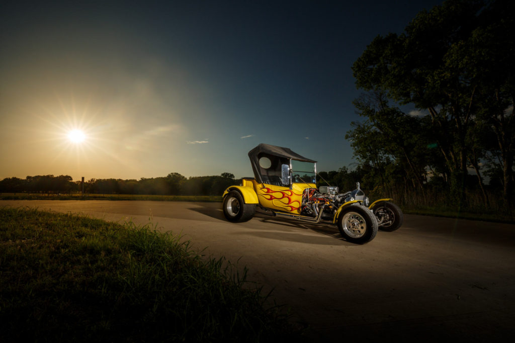 Chevy Roadster Hot Rod Photography at sunset in Troy Texas.