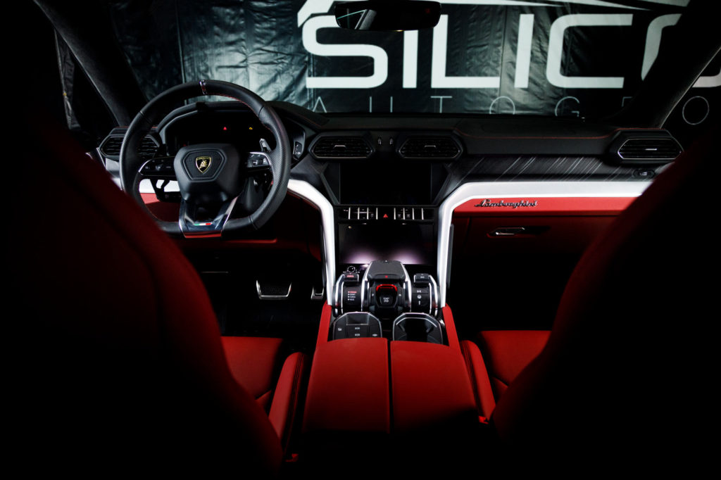 Interior front seats from the back seats of a Lamborghini Urus at Silicon Auto Group in Austin, Tx